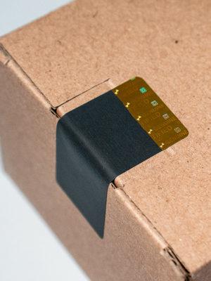 Sicherheitssiegel «VOID OPEN» 50x20mm mattschwarz mit Hologramm