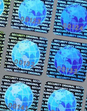 Hologramm-Etiketten – «Globus», 15 x 15 mm mit Seriennummer