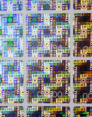 Hologramm Sicherheitsetiketten – «ORIGINAL, GENUINE», 23 x 23 mm