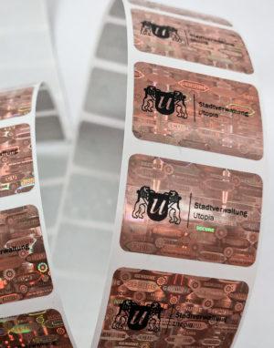 Hologramm-Etiketten 30 x 20mm mit Logo