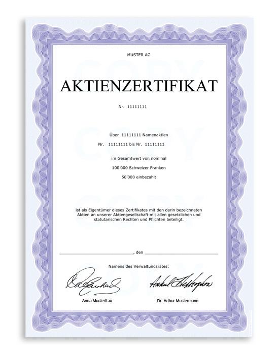 Sicherheitspapier / Aktienzertifikat